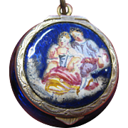 A Viennese Sterling Silver Enamel Vinaigrette Pendant