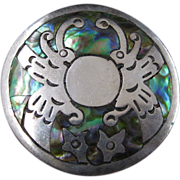 Vintage Sterling Silver and Abalone Brooch or Necklace from Mexico