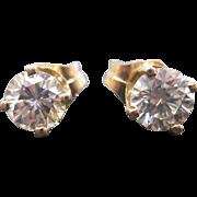 14 K Yellow Gold  0.73 Carat Diamond Stud Earrings