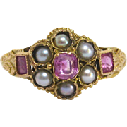 Gold Edwardian Pink Sapphire and Split Pearl Ring