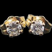14 K Yellow Gold 0.25 Carat Diamond Stud Earrings