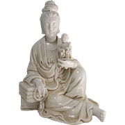19th Century Blanc de Chine Porcelain Guanyin Figure with Child