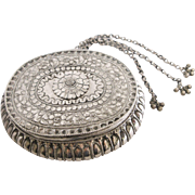 19th Century Indian Silver Repoussee Oval Flower Box