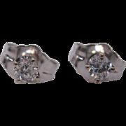 14 K White Gold Small Diamond Stud Earrings