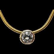 1/2 Carat Diamond Bezel Set 14K Yellow Gold Necklace