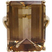 17 Carat Emerald Cut Citrine Cocktail Ring in 14K Gold