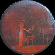 "French Papier Mach Snuff Box ""Le Billet Doux,"" circa 1810"