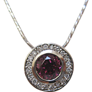14 K White Gold, Rhodolite Garnet, and Diamond Pendant