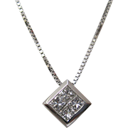 14 K White Gold and Diamond Square-Shaped Pendant