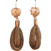 Victorian 10K Gold Maple Leaf & Woven Hair Earrings
