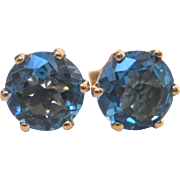 14 K Yellow Gold and Blue Topaz Post Earrings