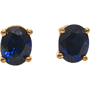 14 K Yellow Gold and Sapphire Post Earrings