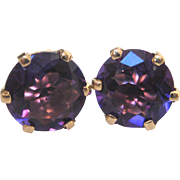 14 K Yellow Gold and Amethyst Post Earrings