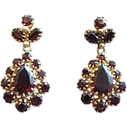 Pear Shaped Bohemian Garnet Earrings 14K Gold