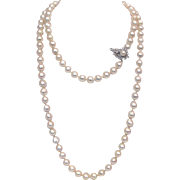 Mid Century Semi-Baroque Japanese Pearl Necklace with Diamonds
