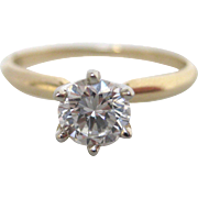 Elegant 14K Gold Round Solitaire Diamond Ring