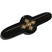 Victorian Onyx, Gold, and Pearl Mourning Brooch