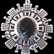 Vintage Taxco Los Ballesteros Mexican Sterling Silver Obsidian Pendant