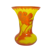 Art Nouveau Red Poppy Bohemian Cameo Glass Vase