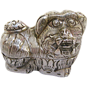 Thai Silver Repoussé Dog Charm Box