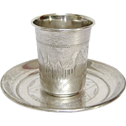 Early 20th Century Russian Sterling Silver Vodka Cup and Saucer