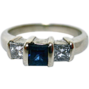 Elegant 14K White Gold, Sapphire and Diamond Three Stone Ring