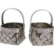 A Pair of Cartier Hand Made Sterling Silver Woven Baskets
