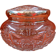 Hand Chased Sterling Silver and American Brilliant Period Glass and Vanity or Dresser Jar