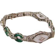 14K White Gold Art Deco Filigree Bracelet with Diamonds,Crystals and Chrysoprase