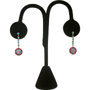 18K Art Deco Turquoise and Ruby Earrings