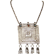 Rare Vintage Sterling Silver Meditation Pendant and Chain from Nepal