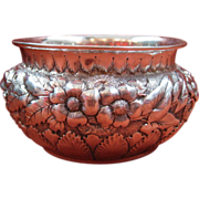 Whiting Sterling Silver Hand Chased Bowl with Floral Repousse