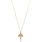 Edwardian 10K Gold, Diamond and Pearl Lavaliere