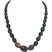 19th Century Earth Toned Jet Necklace