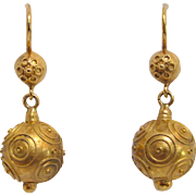 18K Gold Etruscan Revival Ball Dangle Earrings