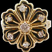 14 K Gold, Black Enamel, and Diamond Ring, circa 1890s