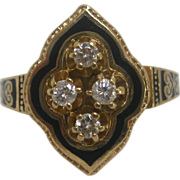 Victorian 14 K Gold, Diamond, and Black Enamel Ring