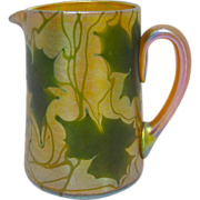 Tiffany Favrile Art Glass Pitcher in the Heart and Vine Pattern