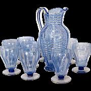 SOLD Cobalt Blue Threaded Wave Libbey-Nash Glass Set and Pitcher