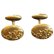 18K Gold Oval Victorian Cufflinks with Floral Repousse