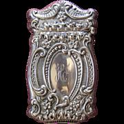 Ornate Sterling Silver Floral Repousse Match Safe or Vesta