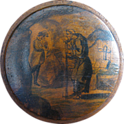 Round German Wooden Snuff Box with a Monk in a Graveyard, circa 1750