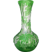 Green Leaf Cameo Glass, Webb Vase