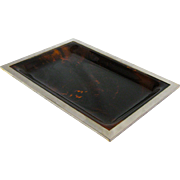 Vintage Faux Tortoise Shell Lucite Tray with Silver Plated Rim