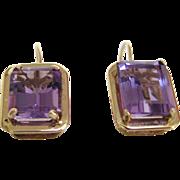 Rose de France Amethyst 14 K Yellow Gold Earrings