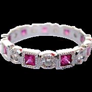 18 Karat White gold Diamond and Pink Sapphire Ring