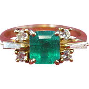 18 K Yellow Gold, Emerald, and Diamond Ring