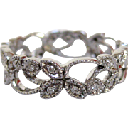 18 Karat White Gold and Diamond Ring with Nature Design