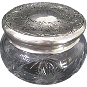 Webster Co. Sterling Silver Repousse Lidded Cut Glass Vanity Jar