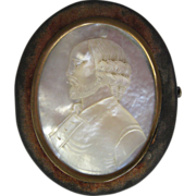 Carved Mother of Pearl Portrait and Velvet Oval Box, circa 1860